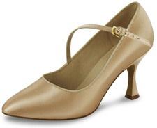 Golden color high heeled shoe