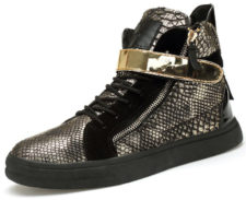 Gold Snake Pattern High Top Hip Hop Shoes