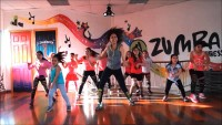 Kids dancing to Zumba in class