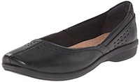Black Leather Clarks Women's Haydn Shipper Flat