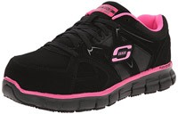 Black and Pink Skechers for Work Synergy Sandlot Lace-Up Work Shoes