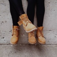 Women Wearing Timberland Steel Toe Boots and leggings