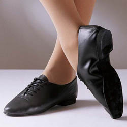Leather jazz shoes with suede sole