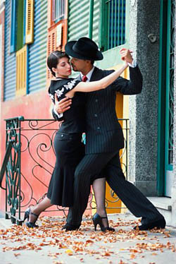 A couple doing the tango dance
